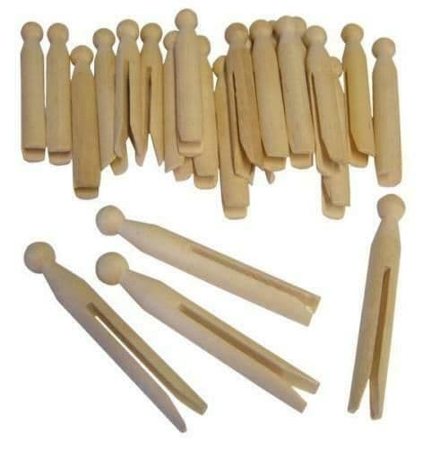 20 Traditional Natural Wooden Washing Line Clothes Laundry Dolly Pegs 11cm Long